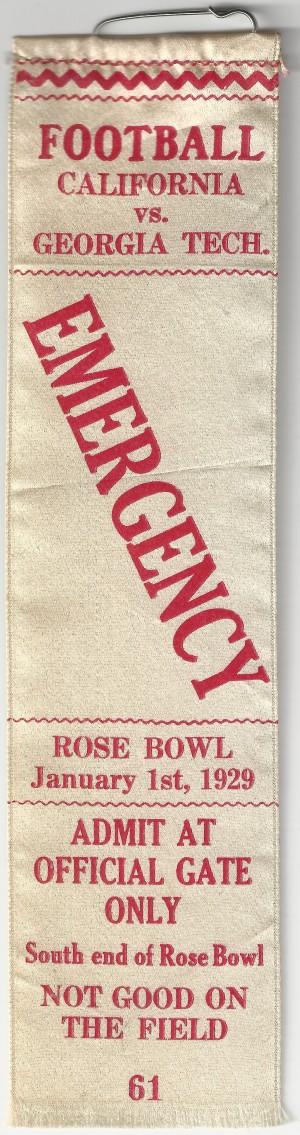 Georgia Tech vs. California - Rose Bowl - Emergency - 1929