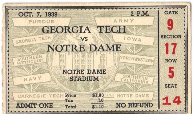 Georgia Tech at Notre Dame - 1939