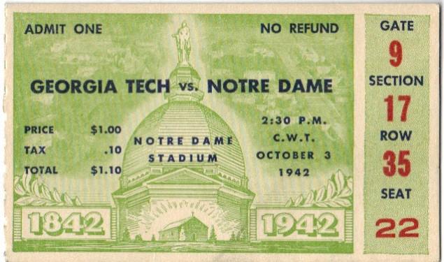 Georgia Tech at Notre Dame - 1942