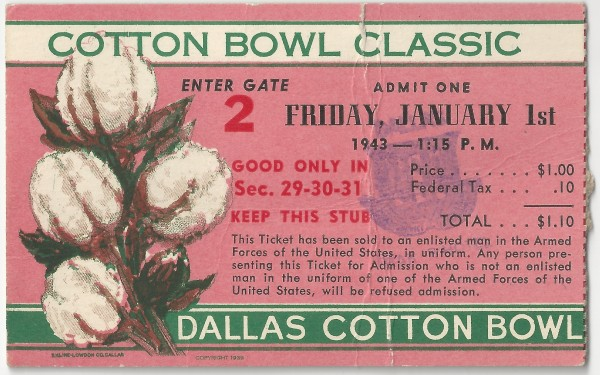 Georgia Tech vs. Texas - Cotton Bowl - 1943