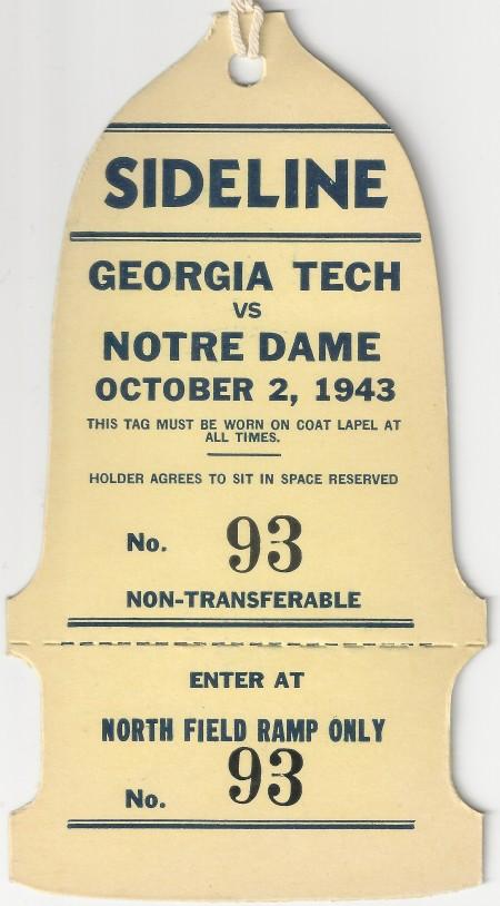 Georgia Tech at Notre Dame - 1943