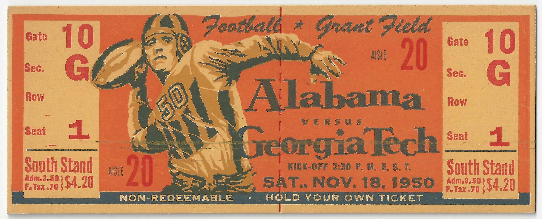 1950-11-18 – Georgia Tech vs. Alabama   Georgia Tech Ticket Stubs