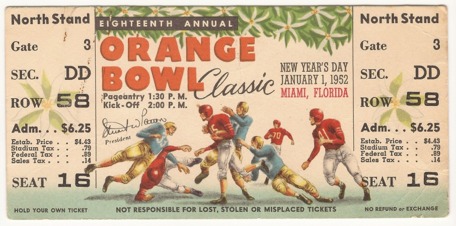 Georgia Tech vs. Baylor - Orange Bowl – 1952