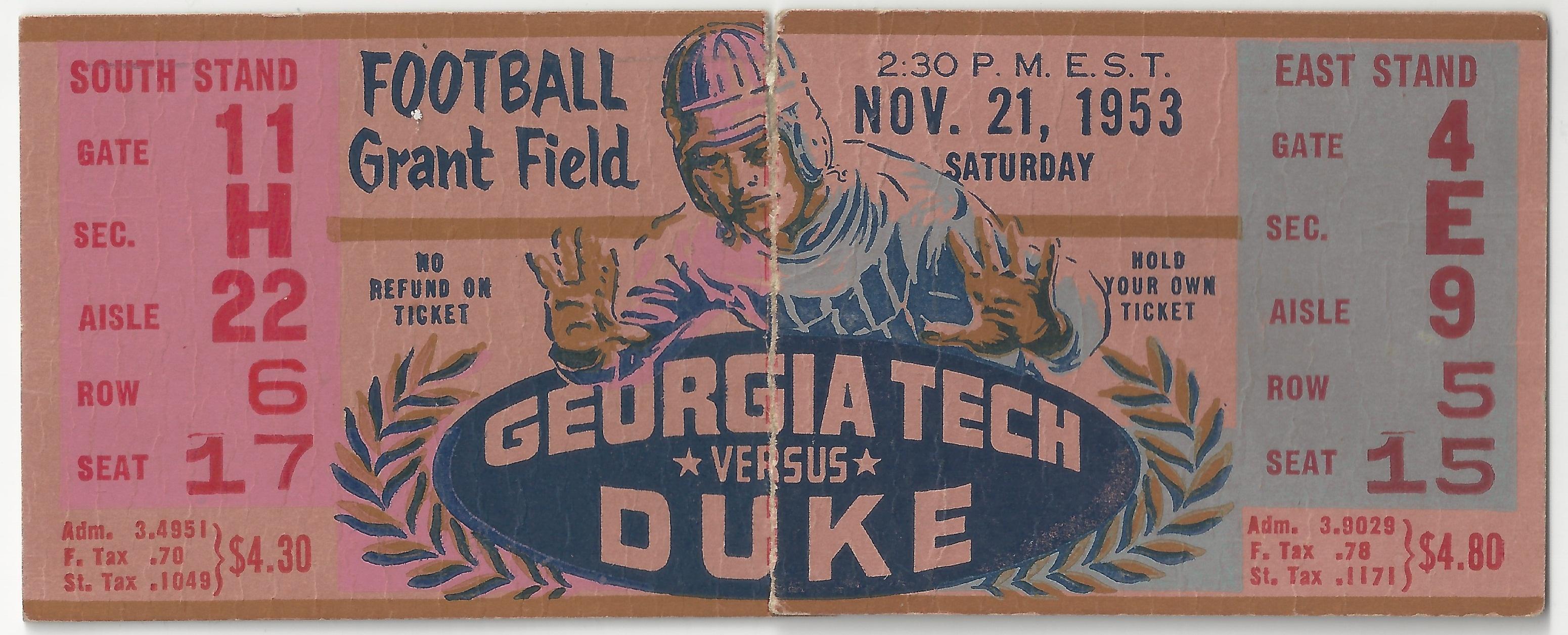 1953-11-21 – Georgia Tech vs  Duke   Georgia Tech Ticket Stubs