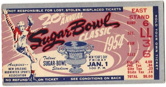 Georgia Tech vs. West Virginia - Sugar Bowl - 1953