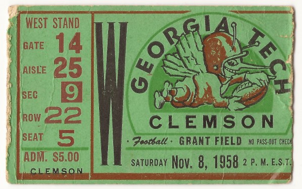 1958-11-08 - Georgia Tech vs. Clemson