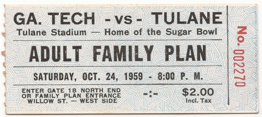 Georgia Tech at Tulane - Family Plan - 1959
