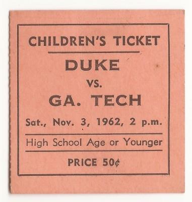 Georgia Tech at Duke - Children's Ticket - 1962