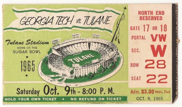 1965-10-09 - Georgia Tech at Tulane