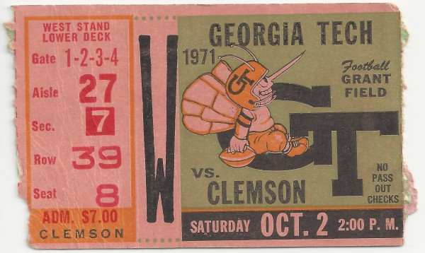 1971-10-02 - Georgia Tech vs. Clemson