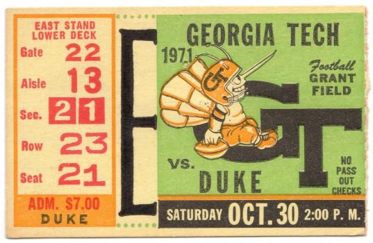 1971-10-30 - Georgia Tech vs. Duke