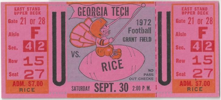 1972-09-30 - Georgia Tech vs. Rice