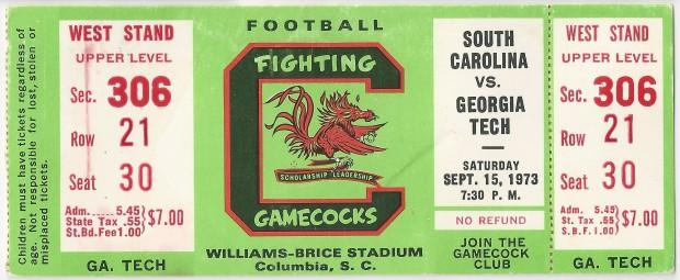 1973-09-15 - Georgia Tech at South Carolina