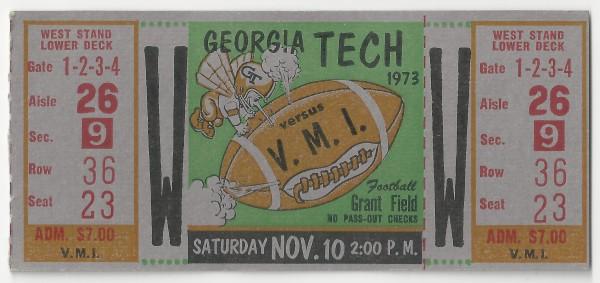 1973-11-10 - Georgia Tech vs. Virginia Military Institute
