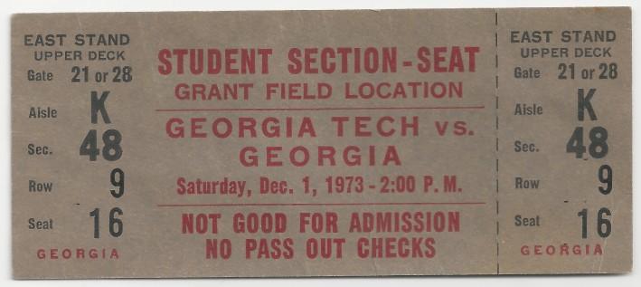 1973-12-01 - Georgia Tech vs. Georgia - Student