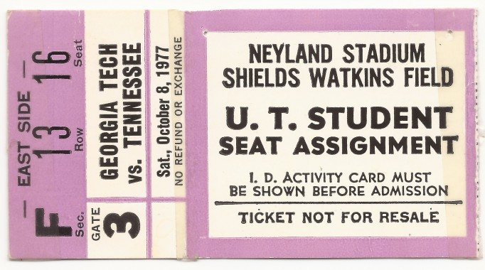 1977-10-08 - Georgia Tech at Tennessee - Student Ticket