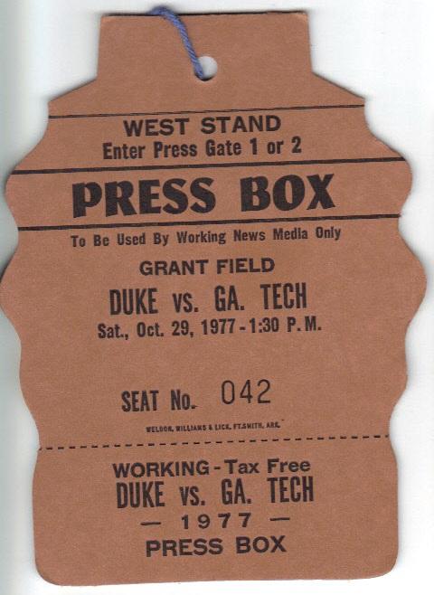 1977-10-29 - Georgia Tech vs. Duke - Press Pass