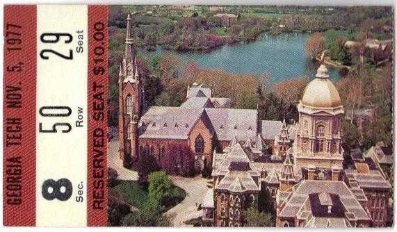 1977-11-05 - Georgia Tech at Notre Dame