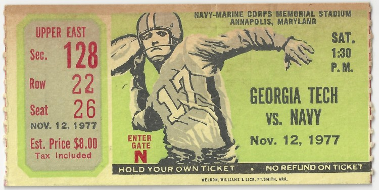 1977-11-12 - Georgia Tech at Navy