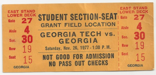 1977-11-26 - Georgia Tech vs. Georgia - Student