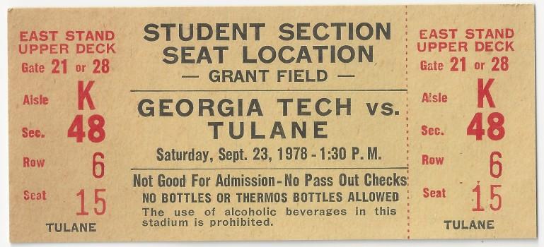 1978-09-23 - Georgia Tech vs. Tulane - Student
