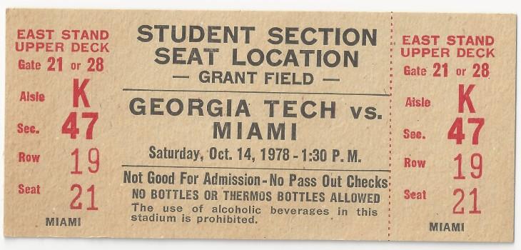 1978-10-14 - Georgia Tech vs. Miami - Student