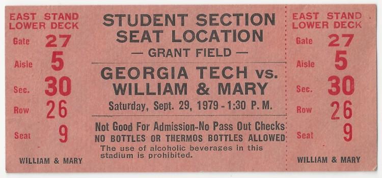 1979-09-29 - Georgia Tech vs. William & Mary - Student