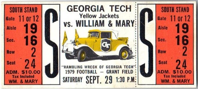 1979-09-29 - Georgia Tech vs. William & Mary