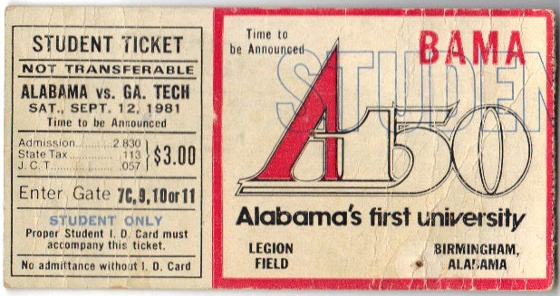1981-09-12 - Georgia Tech at Alabama - Student