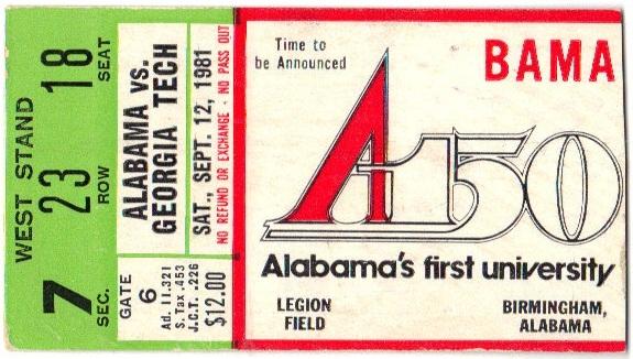 1981-09-12 - Georgia Tech at Alabama