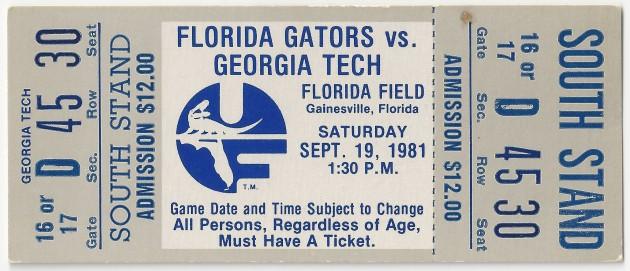 1981-09-19 - Georgia Tech at Florida