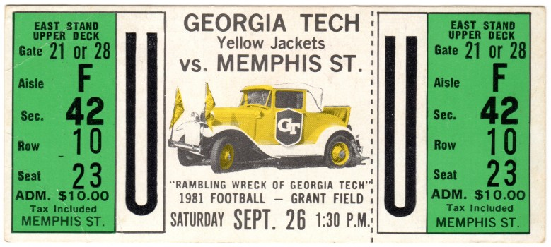 1981-09-26 - Georgia Tech vs. Memphis State