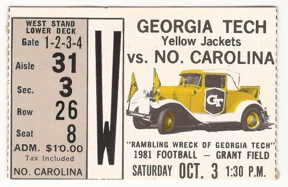 1981-10-03 - Georgia Tech vs. North Carolina