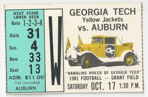 1981-10-17 - Georgia Tech vs. Auburn