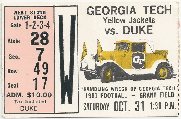 1981-10-31 - Georgia Tech vs. Duke