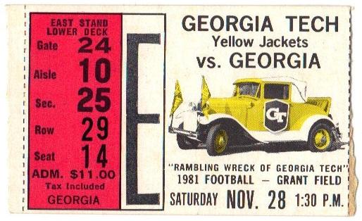 1981-11-28 - Georgia Tech vs. Georgia