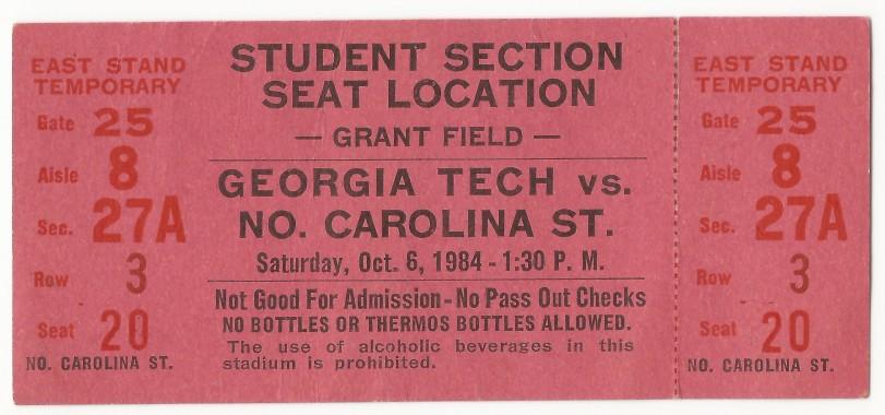 1984-10-06 - Georgia Tech vs. North Carolina State - Student