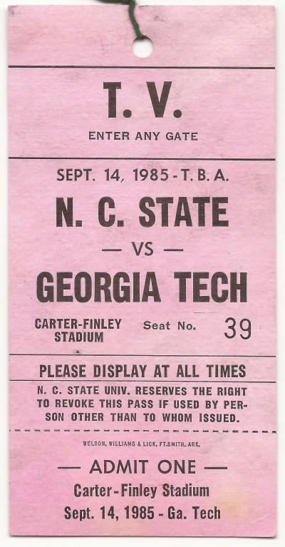 1985-09-14 - Georgia Tech at North Carolina State - TV