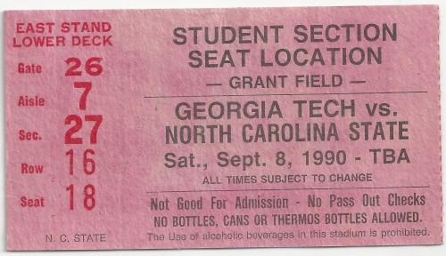 1990-09-08 - Georgia Tech vs. North Carolina State - Student