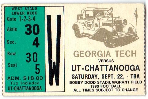 1990-09-22 - Georgia Tech vs. UT-Chattanooga