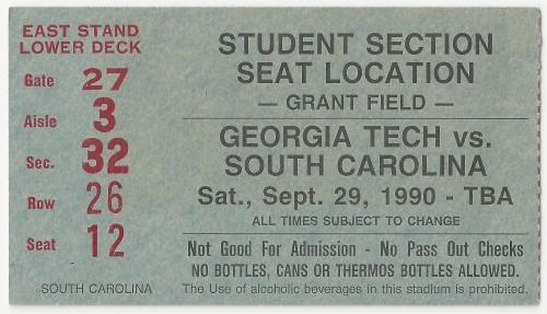 1990-09-29 - Georgia Tech vs. South Carolina - Student
