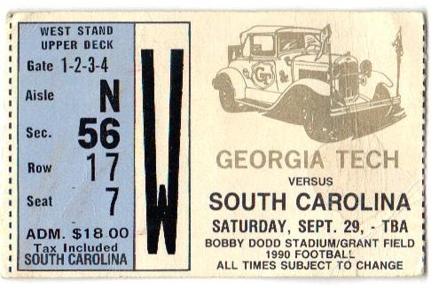 1990-09-29 - Georgia Tech vs. South Carolina