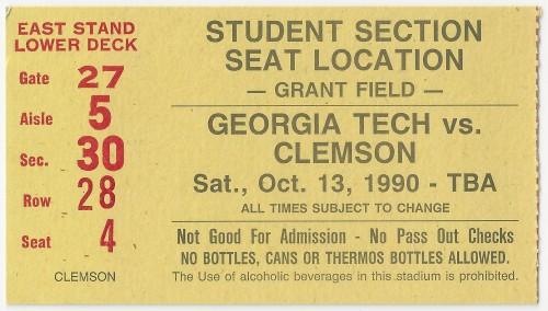 1990-10-13 - Georgia Tech vs. Clemson - Student