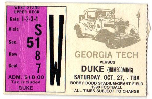 1990-10-27 - Georgia Tech vs. Duke