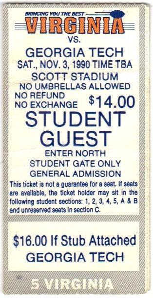 1990-11-03 - Georgia Tech at Virginia - Student Guest