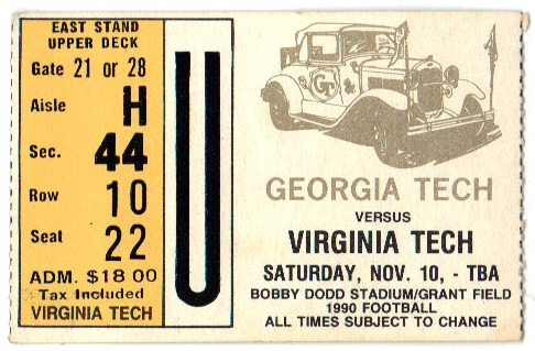 1990-11-10 - Georgia Tech vs. Virginia Tech
