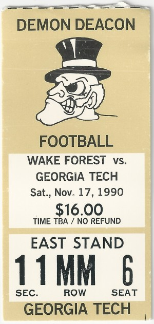 1990-11-17 - Georgia Tech at Wake Forest