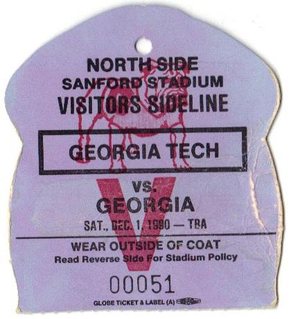 1990-12-01 - Georgia Tech at Georgia - Sideline Pass