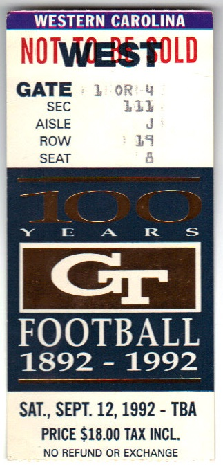 1992-09-12 - Georgia Tech vs. Western Carolina