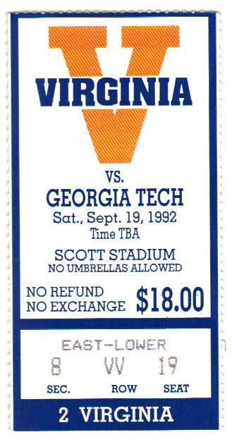 1992-09-19 - Georgia Tech at Virginia